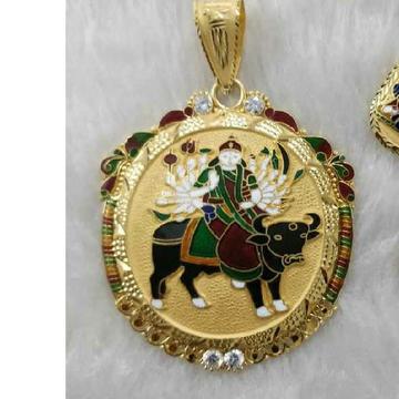 Visat Maa Minakari Gold Pendant