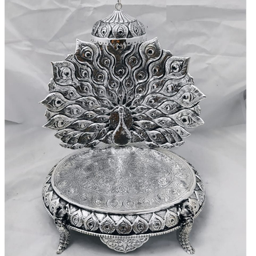 925 pure silver antique singhasan with dancing pea...