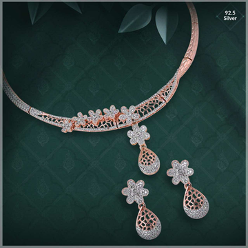 92.5 Sterling Silver Rose Gold Import Quality Necklace Set Ms-3720