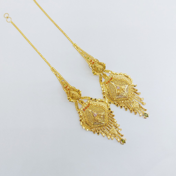 916 gold earrings with chain by