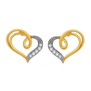 18k gold real diamond heart shape earring mga - rde005