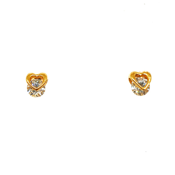 22K Gold Heart Shape Movable Diamond Earrings MGA - BTG0061