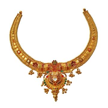 22K Gold Designer Necklace MGA - GN0095