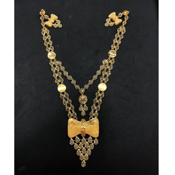 22K Gold Antique Double Later Necklace Set by