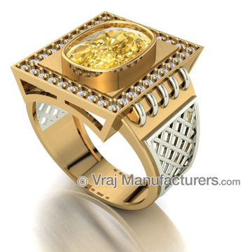 18K Gold Casting Oval Yellow Sapphire Royal Ring For Men