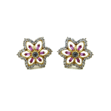 22K Gold Bugget & CZ Flower Tops by