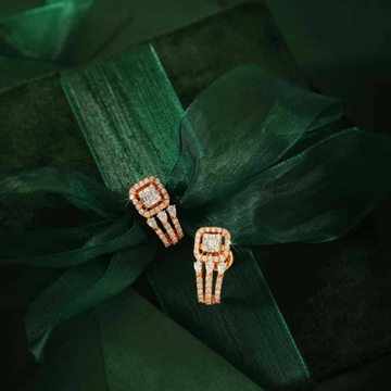 18KT Rose Gold fancy festival J shape earrings for... by