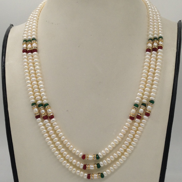 Freshwater White Flat Pearls 3 Layers Necklace Wit...