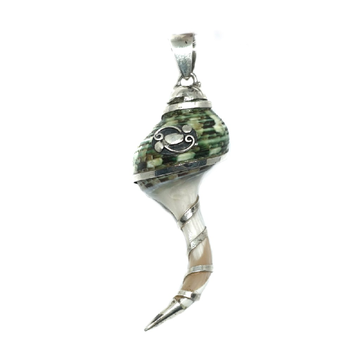 925 Sterling Silver Conch Shell Pendant MGA - PDS0009