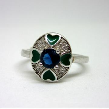 Silver 925 blue diamond meen ring sr925-231 by