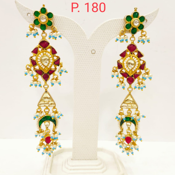 Gold plated Ruby & Emerald stone Long earring with Hanging pearl 1701