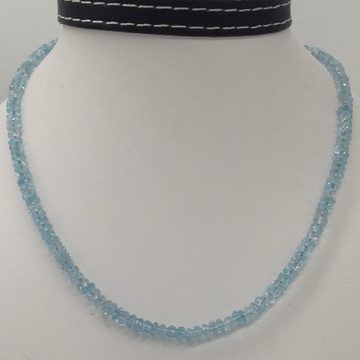 Natural sky blue topaz faceted round beeds mala