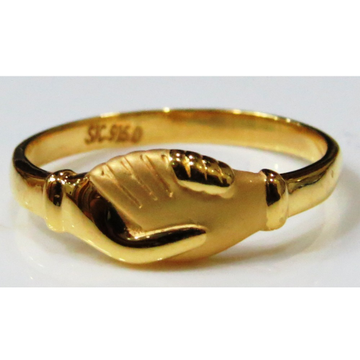 22kt gold plain casting Handshake ring for women plr-9