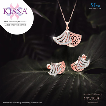 rose gold kisna real diamond pendant with earrings