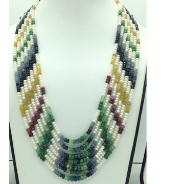 White Flat Pearls with Multicolour Stones 7 Layers Necklace JPM0427