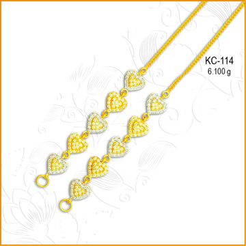 916 CZ Gold Fancy Heart Shape Earchain KC-114