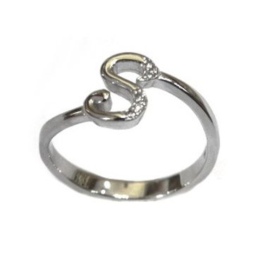 925 Sterling Silver Alphabet (Letter S) Ring MGA - LRS1548