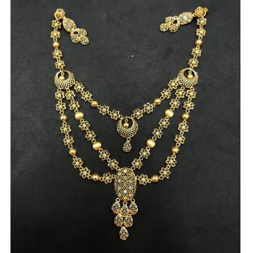 22K Gold Triple Layer Designer Necklace Set by