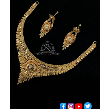 22 carat gold traditional necklace set RH-NS359