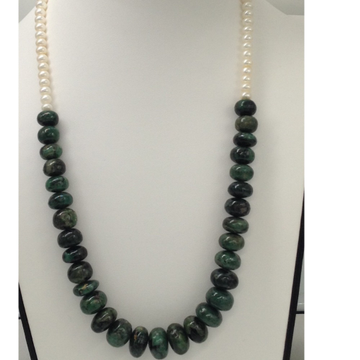 Freshwater White Flat Pearls with Green Emeralds Beeds Mala