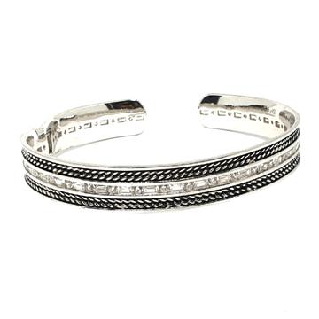 925 Sterling Silver CZ Diamond Oxidised Bracelet M...