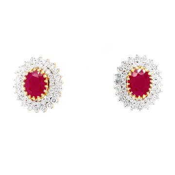 Grandiose Detachable diamond & ruby earrings in yellow gold 8top77