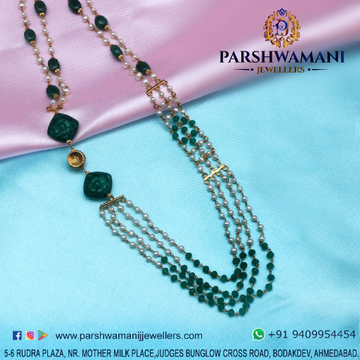 22Kt Gold Green & White Pearl Four Line Mala For Women