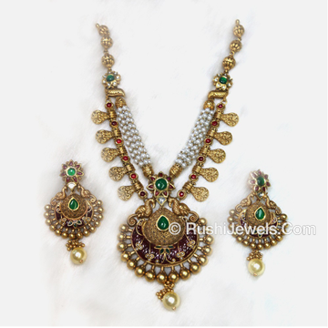 22kt 916 Antique Gold Indian Bridal Long Necklace Set