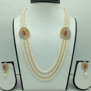 RedAnd WhiteCZ BroachSet With 3 Line Flat Pearl...