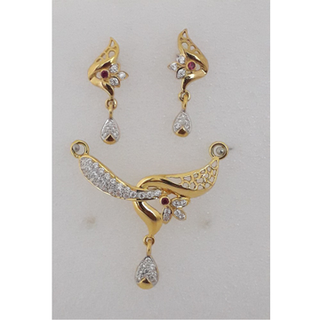 916 Gold CZ Fancy Mangalsutra Pendant Set MJ-PS001 by M.J. Ornaments