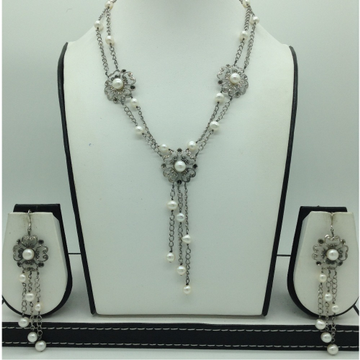 Freshwater White Pearls Silver Necklace Set JNC006...