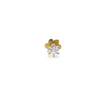 18kt / 750 yellow gold classic single 0.09 cts diamond nose pin 9np155