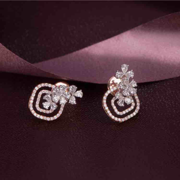 18KT Designer Real Diamond Rose Gold Earring