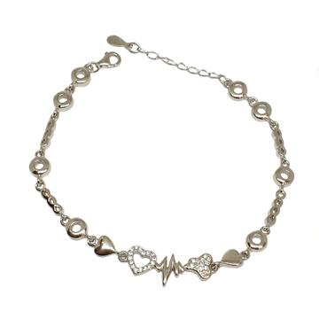 925 Sterling Silver Heart Shape Bracelet MGA - BRS1753