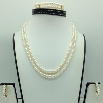 Freshwater White FlatGraded 2Lines PearlsFull Set JPP1079