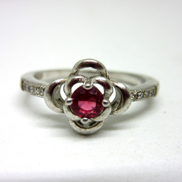 Silver 925 pink stone classic ring sr925-121 by