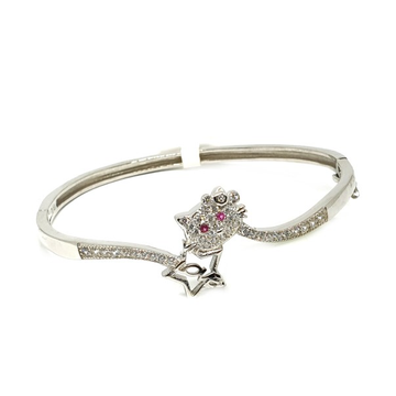 925 Sterling Silver Cat Shape Pink Diamond Baby Bracelet MGA - BRS0373