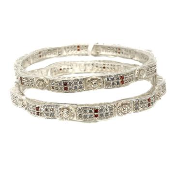 925 sterling silver flower shaped cz diamond kadli bangle mga - kds0338