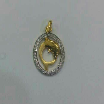 22K / 916 Gold Dolphin CZ Designer Pendant