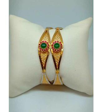 22KT Gold Flower Design Coloured Stone Copper Kadli