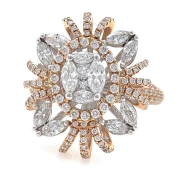 18kt / 750 rose gold anniversary cocktail diamond studded ladies ring 8lr158