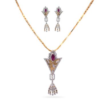 916 Gold Diamond Pendant Set by