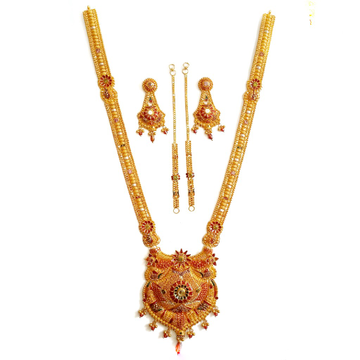 22k Gold Rajwadi Meenakari Necklace Set MGA - GLS012