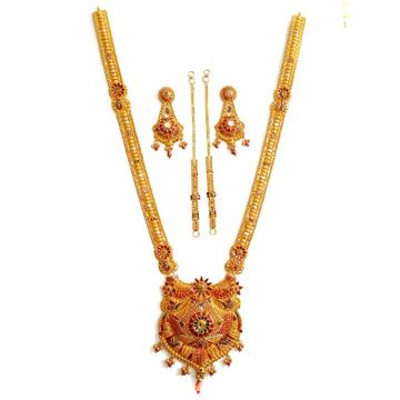 22k Gold Rajwadi Meenakari Necklace Set MGA - GLS012
