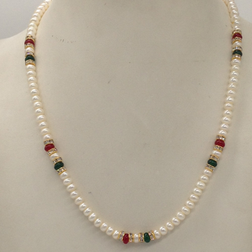 Freshwater White Flat Pearls Single Layer Mala With CZ Golden Chakri And Red, Green Semi Beeds JPM0346