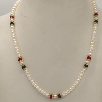 Freshwater White Flat Pearls SingleLayer MalaWith CZ Golden Chakri And Red, Green Semi Beeds JPM0346