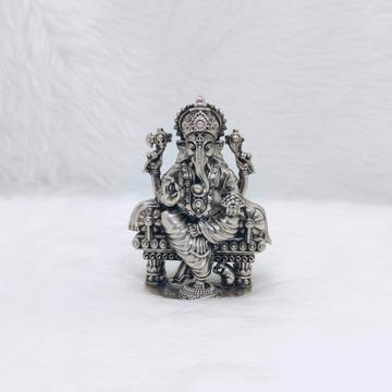 Hallmarked silver ganesh idol in high antique fini...