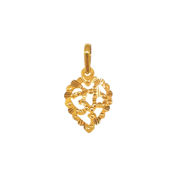 18K Gold Heart Shaped Om Pendant MGA - PDG0022