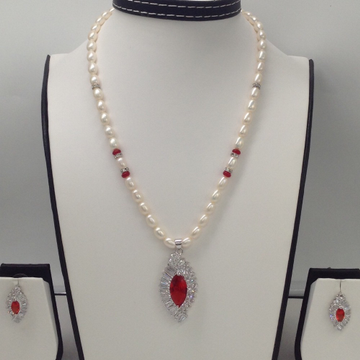 White And Red CZ Pendent Set With Oval Pearls Mala JPS0012