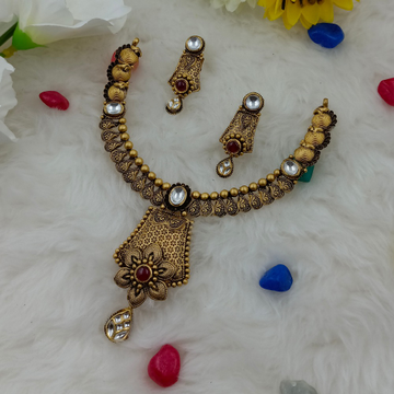 916 gold unique design hallmark necklace set by Ranka Jewellers